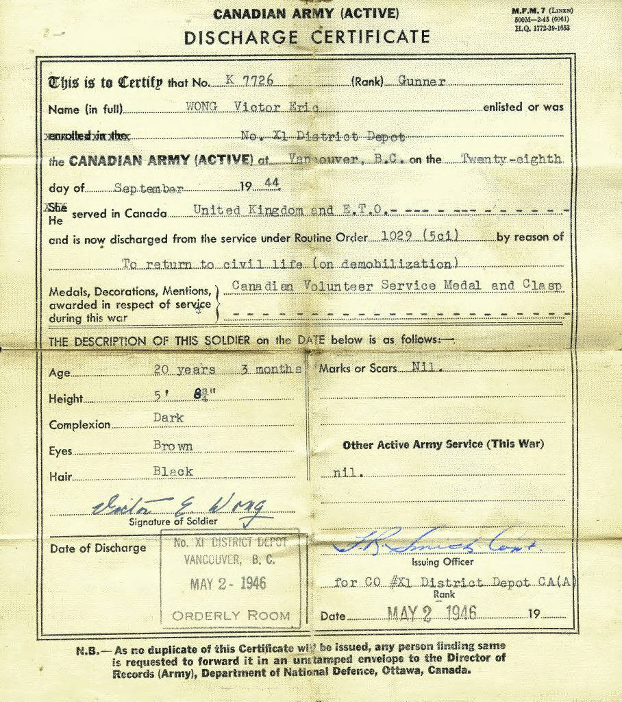 Canadian Army Discharge Certificate of Victor Wong